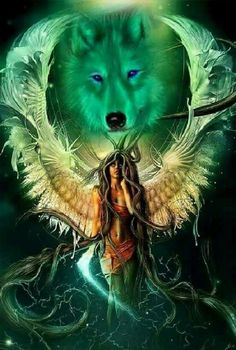 I incredibly am keen on the different colors, outlines, and depth. This really is an amazing artwork if you are looking for a Dark Fantasy Art, Fantasy Wolf, Fantasy Art Women, Native American Wolf, Native American Artwork, American Indian Art, Artwork Lobo, Wolf Artwork, Wolf Images