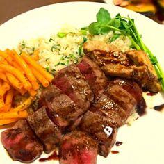 ○熟成肉のステーキとフォアグラのバルサミコソース ○クレソンのガーリックライス - 104件のもぐもぐ - ちょこっと良い日に食べたいディナープレート☆ by maiog