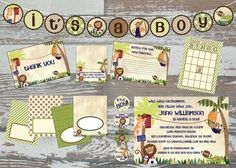 Printable Lambs & Ivy Team Safari Baby Shower Deluxe Kit. $25.00, via Etsy.