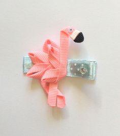 Barrette cheveux le flamand rose en ruban : Accessoires coiffure par croc-o-barrettes-et-compagnie