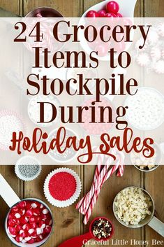 See 24 Grocery Items to Stockpile During Holiday Sales and find out what you should be paying for each item on http://gracefullittlehoneybee.com!