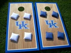 Corn hole boards - AU colors, of course Cornhole Set, Cornhole Boards, Diy Games, Party Games, Corn Hole Game Diy, University Of Kentucky, Kentucky Wildcats, Wooden Projects, Pallet Projects