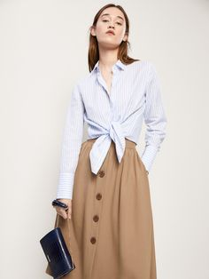 SKIRT WITH BUTTONS DETAIL - Women - Massimo Dutti