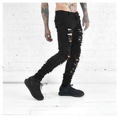 2017 New Men'S Jeans Ripped Jeans For Men Skinny Distressed Slim Famous Brand Designer Biker Hip Hop Swag Black Streetwear Pants Biker Jeans, Black Ripped Jeans, Jeans Slim, Ripped Skinny Jeans, Black Skinnies, Men's Jeans, Denim Pants, Skinny Fit, Denim Shirts