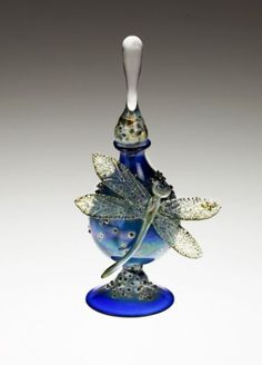 Cobalt Perfume Bottle with Dragonfly