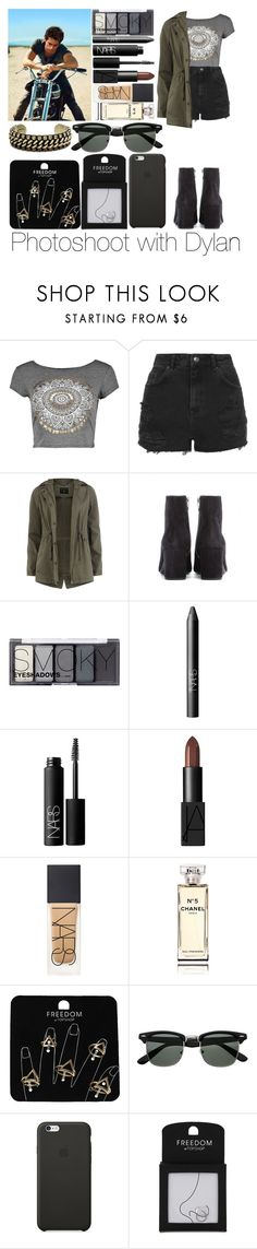 """""""Photoshoot with Dylan"""" by sassy-queen01 ❤ liked on Polyvore featuring Topshop, Dorothy Perkins, Yves Saint Laurent, H&M, NARS Cosmetics, Chanel, Black Apple, DANNIJO, black and khaki"""