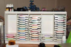 Craft paper storage diy ink pads ideas for 2019 Scrapbook Paper Storage, Craft Paper Storage, Scrapbook Organization, Craft Organization, Scrapbook Rooms, Diy Scrapbook, Organizing Ideas, Organising, Ink Pad Storage
