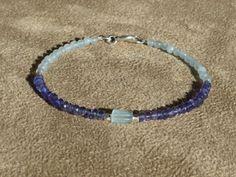 Aquamarine Bracelet, Iolite Bracelet, Gemstone Bracelet, Aquamarine Cube, Blue Bracelet, Dainty Bracelet by ThreeMagicGenies on Etsy