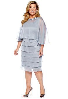 London Times Plus Size Sleeveless Shutter Dress with Cape
