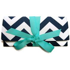 The ALEXIS Clutch in Navy Chevron Stripe with Tiffany Blue ($55) ❤ liked on Polyvore