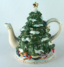 Fitz & Floyd Florentine Christmas (Giftware) Figurine Teapot & Lid ...
