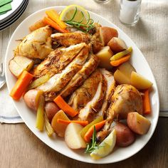 Slow-Roasted Chicken with Vegetables Recipe -Even a beginner cook could make this and have it turn out perfectly. This recipe could not be easier. A few minutes of prep and you'll come home to a delicious dinner. —Anita Bell, Hermitage, Tennessee