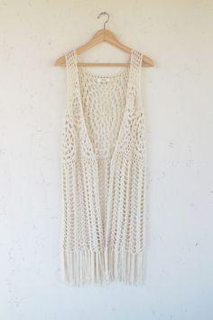 Modern Bohemian Beige Karma Crochet Fringe Vest