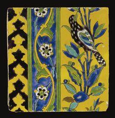 A Safavid cuerda seca tile, Persia, century Turkish Design, Turkish Art, Islamic Tiles, Islamic Art, Tile Art, Mosaic Tiles, Textures Patterns, Tile Patterns, Zentangle Patterns
