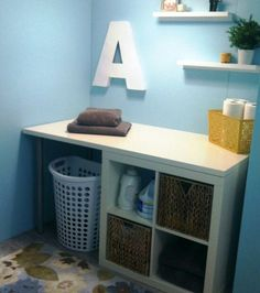 Laundry folding station - use two cubicles with wood plank on top, place in front of window