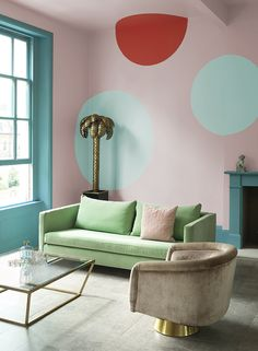 Combine pastels with colour blocking to create a feature wall. Simply use the paler tone as an easy-to-live-with backdrop and paint different shapes in similar tones and a single, contrasting bolder colour on one wall. #pastel #colourblocking #featurewall #livingroom #realhomes Best Paint Colors, Room Paint Colors, Paint Colors For Living Room, Living Room Update, Living Room Grey, Living Rooms, Living Room Color Schemes, Living Room Designs, Colour Schemes