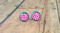 Pink and White Checker Earrings in Light Blue Settings, 12mm Round Glass Cabochon Earrings, Trendy Earrings, Round Stud Earrings by BrandywineHD on Etsy