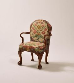 Petit point upholstery chair by Sue Baker & John Hodgson - Furniture upholstered with needlepoint - Gallery - IGMA Fine Miniatures Forum