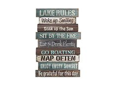 Patterned to look like weathered boards from the lake house dock, the Lake Rules Wall Sign reminds you of all the tips for a perfect time. Lake Rules, Lake Signs, Beach Signs, Lake House Signs, The Lake House, Cabin Signs, Cottage Signs, House Rules, Wooden House Signs