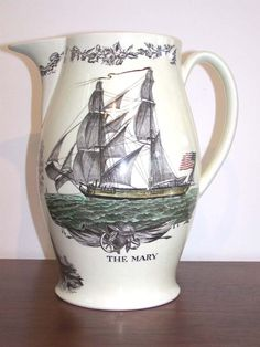 click to view larger image of An Historically Important English Creamware Enamel Decorated and Black Transfer Printed Liverpool Pitcher circa 1803.