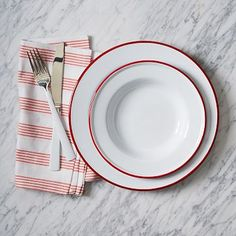 Enamelware Dinnerware Set - Red #westelm Design is simple and beautiful, with a nod to vintage style. Its steel and porcelain enamel finish is also shatterproof—ideal around kids and klutzes. #CrowCanyonHome