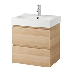 """IKEA - GODMORGON / BRÅVIKEN, Sink cabinet with 2 drawers, white, 23 5/8x19 1/4x26 3/4 """", , 10-year Limited Warranty. Read about the terms in the Limited Warranty brochure.Smooth-running and soft-closing drawers with pull-out stop.You can easily customize the size of the drawer by moving the divider.You can easily see and reach your things because the drawers pull out fully.Drawers made of solid wood, with bottom in scratch-resistant melamine.The included water trap is easy to connect to the…"""