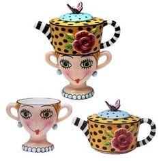 Sugar High Social Lady Lux Tea pot,  cream and sugar set. Tea embraces silly!