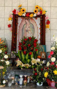 This roadside shrine dedicated to the Virgen de Guadalupe is located near Martinez de la Torre in Veracruz state Mexico #culture #Talavera #handmade #Mexican explore MexicanConnexion.com