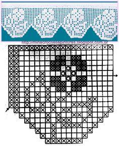 MIRIA CROCHÊS E PINTURAS: BARRADOS DE CROCHÊ COM GRÁFICOS (FLORES) N°380