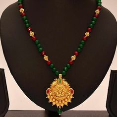 Buy Anvi\'s Lakshmi (temple Jewellery) Pendent With A Combination Of Rubies And Emeralds Beads - Online Shopping For Necklaces By Anvi Collections Online Pearl Necklace Designs, Jewelry Design Earrings, Gold Earrings Designs, Bead Jewellery, Temple Jewellery, Gold Jewelry, Beaded Jewelry, Gold Bangles Design, Bridal Bangles