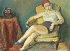 Woman in Yellow Armchair, Gouache. by Iosif Iser. Medium: Gouache with touches of oil on paper pasted on cardboard. Harlem Renaissance, Pop Art, Yellow Armchair, Create Drawing, Art Deco, Magic Realism, Art Brut, Art Database, Female Images