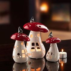 Mushroom lantern with elf, set of 3 - charming northern light: the ceramic lantern with Swedish tomte motif.Christmas inspired mushroom candle holders with the cutest little elfs on their topsA magical northern light in a ceramic lamp with Swedish gn Clay Houses, Ceramic Houses, Ceramic Clay, Ceramic Pottery, Ceramics Projects, Clay Projects, Diy Clay, Clay Crafts, Paper Clay