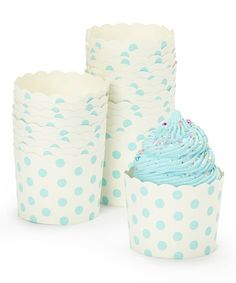 Love this Light Blue Polka Dot Baking Cups - Set of 24 by Expect Personality on #zulily! #zulilyfinds
