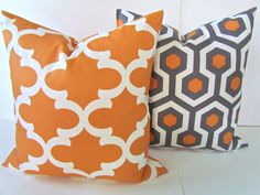 ORANGE PILLOWS SET of 2 -Orange Pillows Gray Decorative Throw Pillows Copper Throw pillow cover 18x18 Quatrefoil Moroccan Home and living