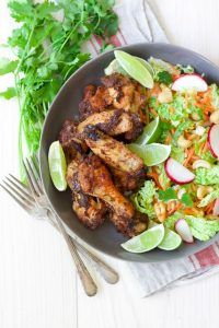 30 Minute Moroccan Chicken Wings with Sesame-Bok Choy Slaw & Cashews - Recipes to Nourish