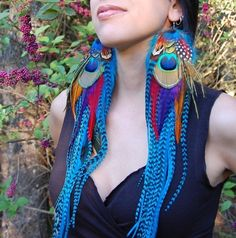 SIREN Very Long Feather Earrings Reserved for by PixiEGlamouR, $75.00
