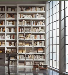 Books and books and books in a minimal library / white - I don't understand the white book covers - I'd never be able to find anything...