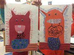 Jamestown Elementary Art Blog: First Grade Line Monsters Collage from the book…