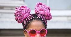 Pink space buns with braids