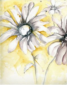 Yellow and Gray Sunflowers Painting, Handmade Watercolor Print, Modern, Organic, Spring, Summer Home Decor, Fall Paintings, Autumn Print