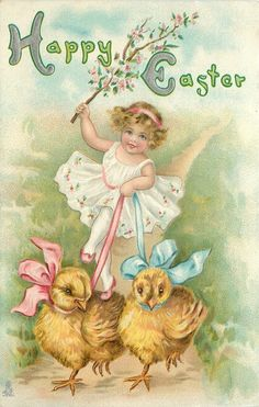 HAPPY EASTER  girl holds ribbons driving two chicks forward, waves branch in  right hand