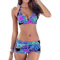 Bikini Set 2019 Sexy Push Up Swimsuit Plus Size Swimwear Women Vintage Beachwear Halter Print Bikini Bathing Suit Shorts S-XXXL Plus Size Bikini Bottoms, Women's Plus Size Swimwear, Men's Swimwear, Trendy Swimwear, Beachwear, Bikinis, Athletic Swimwear, Summer Swimwear, Sexy Bikini