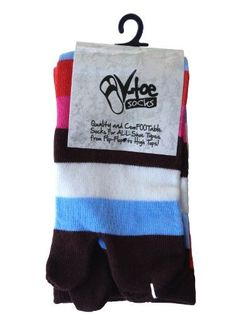 Over The Knee Brown Stripe V-Toe Flip Flop Socks (1 Pair) by V-Toe. $11.99. V-Toe Tabi Socks are Comfootable socks for all shoe types from Flip Flops to High Tops! Over the knee for the winter cold and can still wear your flip flops!  Over the knee to keep the legs warm and still wear your flip flops!  1 Pair -each sock is 80% cotton 17%polyester 3%spandex For the most comfootable flip flop socks on the market!