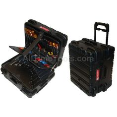 Chicago Case. Military Ready Mechanical Hinged Military hardware with padlock security loop, Built in cart (WHEELED / Rolling tool case) MMST9CARTMH