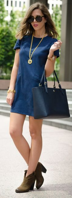 shift dress ℅   booties   York tote   necklace ℅   bracelet ℅   MK watch   Karen Walker sunglasses