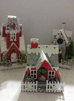 me ~ Pin on Tim Holtz Houses ~ love my vintage dwelling die cuts. Love making little houses Christmas Village Display, Christmas Village Houses, Christmas Town, Putz Houses, Christmas Villages, Christmas Art, Christmas Projects, Vintage Christmas, Christmas Decorations