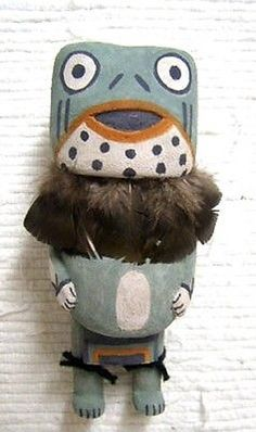 """Hopi Carved 5.75"""" Old Style Frog Kachina Doll Sculpture by Ryon Polequaptewa"""