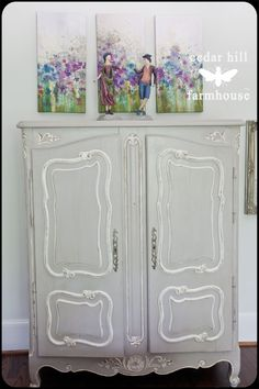 beautiful painted french cupboard armoire - looks like ASCP Paris Grey and White. Paint my hall cupboard like this?