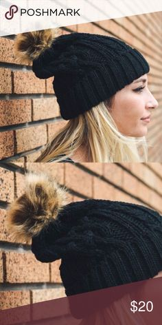 Black Cable Knit Beanie with Pom-Pom PreOrders ❣️ Black Cable Knit Beanie with Pom-Pom. No trades. Price is firm unless bundled. Glamvault Accessories Hats
