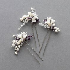 I loved working with bride Mary to create these bridal hair pins. Mary's wedding bouquet featured an array of flowers and purple berry details...